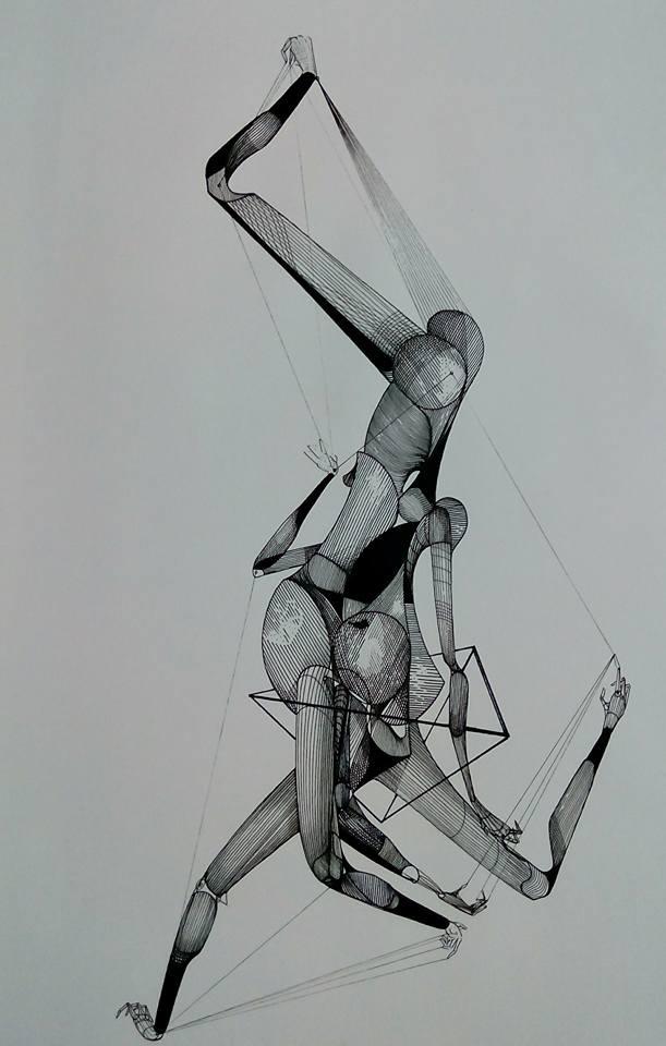 De la serie dualidad humana Tinta/papel 59 x 42 cm Catálogo: JP-13
