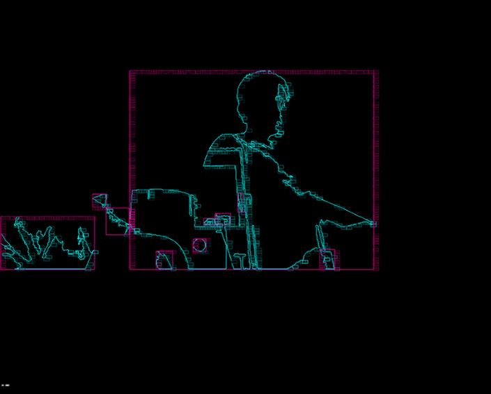 Trículo Glitch Técnica: C++/openFrameworks/OpenCV/Pantalla Medidas: 1280x960px Catálogo: CAR-2